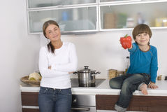 Young boy and his mother Royalty Free Stock Photography