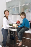 Young boy and his mother Royalty Free Stock Image