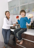 Young boy and his mother Stock Images