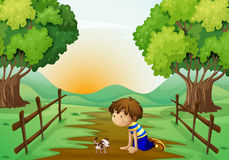 A young boy and his pet Royalty Free Stock Image