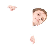 Young boy holding banner Royalty Free Stock Photos