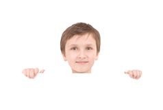 Young boy holding banner Stock Images