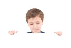 Young boy holding banner Royalty Free Stock Photo