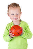 Young boy holding basketball - isolated Stock Photos