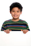 Young Boy Holding Blank Sign Stock Images