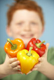 Young Boy Holding Colourful Peppers Royalty Free Stock Photography
