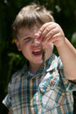 Young boy holding a lizard. By the tail, caucasian/white Stock Photo