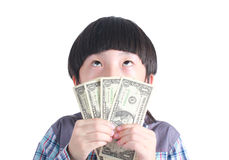 Young boy holding money. Royalty Free Stock Photography