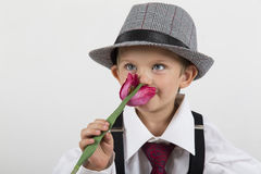 Young boy holding a pink flower and smell in love. Young boy holding a pink flower and smell it in love Royalty Free Stock Images