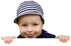 Young boy holding the sign Royalty Free Stock Photo