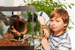 Young boy holding small Royal python Stock Photography