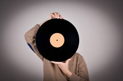 Young boy holding a vinyl record Stock Photography