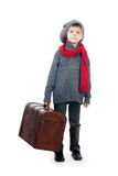 A young boy holding wooden trunk. A portrait of a young boy holding wooden trunk,  on white background Stock Photos