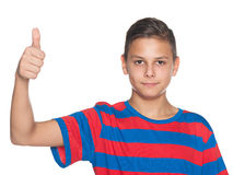 Young boy holds his thumb up Stock Photography