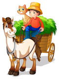 A young boy with a horse and a cat Royalty Free Stock Image