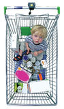 Young Boy In Shopping Trolley Stock Image