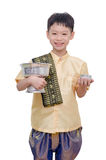 Young Boy In Thai Traditional Dress Holding Water Cup Stock Images