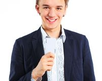 Young boy with a joker. In his hand. Isolated Stock Images