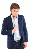 Young boy with a joker. In his hand. Isolated Stock Photography