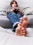Young boy with joystick Royalty Free Stock Photo