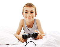 Young boy with joystick playing computer game Stock Photography