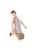 Young boy jumping. Isolated on a white background Stock Photo