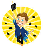 Young Boy Jumping On Graduation Stock Photo