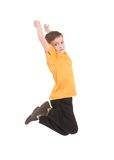 Young boy jumping up. Isolated on white Stock Photos