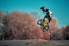 Free Young Boy Jumping With His BMX Bike At Pump Track Stock Image - 181660341