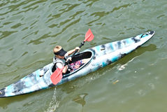 Young Boy in a Kayak / Close Royalty Free Stock Photo