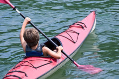 Young Boy Kayaking Royalty Free Stock Photography
