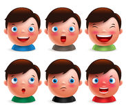 Young boy kid avatar facial expressions set of cute emoticon heads. Vector characters  in white background. Vector illustration Royalty Free Stock Photo