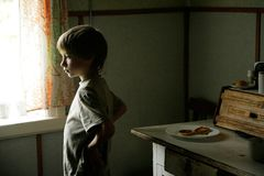 Young boy in kitchen. Young boy standing in kitchen Stock Photography