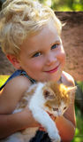 Young Boy with Kitten stock image