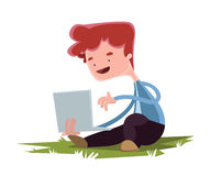 Young boy with lap top on grass  illustration cartoon character Stock Image