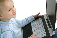 Young Boy with Laptop Royalty Free Stock Image
