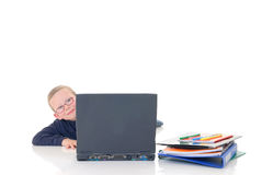 Young boy on laptop Royalty Free Stock Image