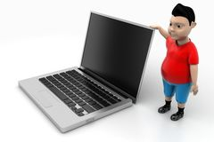 Young Boy and Laptop In Isolated Background Royalty Free Stock Photos
