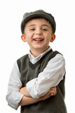 Young boy laughing with flat cap Stock Photo