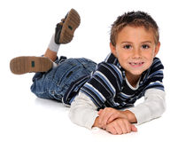 Young Boy Laying on Floor Stock Photos