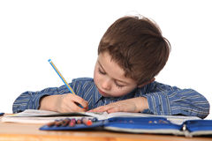 Young boy learning Royalty Free Stock Photography