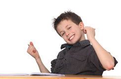Young boy learning Stock Photo