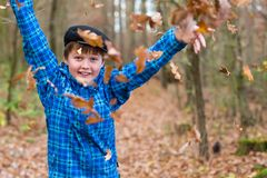 Young boy and leaves Royalty Free Stock Photo