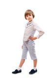 Young boy in light blue suit Stock Images