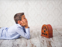 Young boy listening to music Royalty Free Stock Image