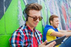 Young boy listening to music Royalty Free Stock Photography