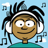 A young boy listening to some music Royalty Free Stock Image