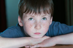 Young boy look up. Young boy with green eyes look up Stock Images