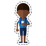 Young boy looking cellphone social media cut line. Vector illustration eps 10 Royalty Free Stock Photos