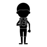 Young boy looking cellphone social media pictogram vector illustration